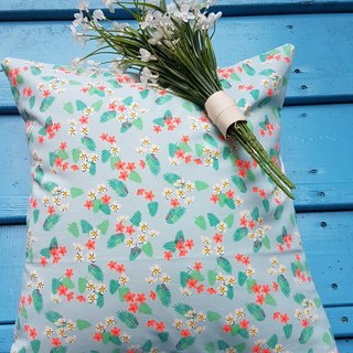 Scandinavian specialties fresh flower leaves blue pattern pillow / cushion