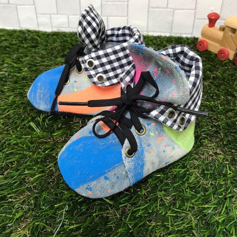 帥氣牛仔學步鞋-潑漆款2