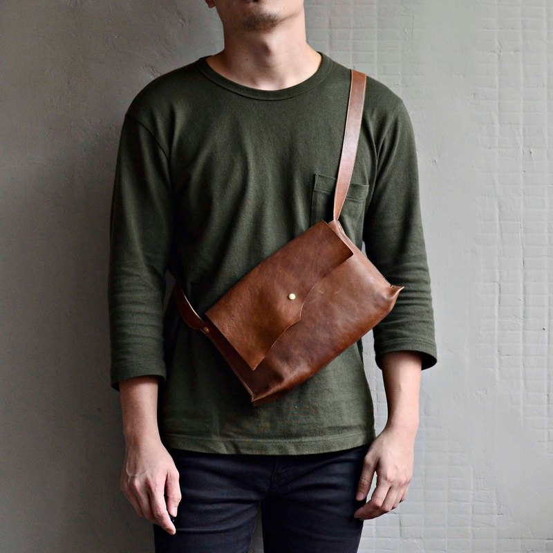 【Rangers business assistant】 imported leather side backpack brown leather shoulder bag Messenger bag sachet shopping bags