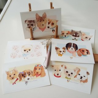 Hand-painted postcard sticker fairy pill group - Dogs series 1-6