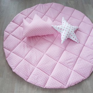 Baby girl play mat, cloud shape pink polka dot play mat