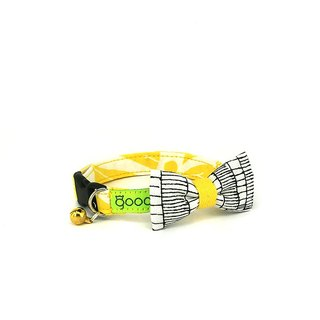 GOOOD Cat Collar | Smarty - Sketchy Lines | 100% Black Lines & Yellow Cotton Fabric | Safety Breakaway Buckle