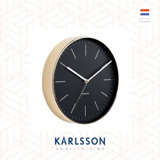 Karlsson wall clock Minimal black w.shiny gold case