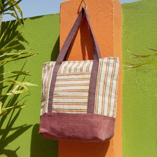 Natural Cotton Handwoven Fabric Lightweight Backpack Backpack Backpack Shoulder Bag Tote Bag Shopping Bag - Jamaica