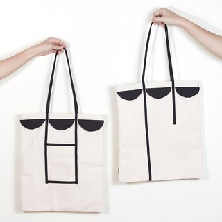 Tote bag semicircle patchwork style white color made from canvas fabric 手袋