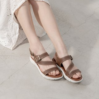 Leather lightweight soft Q sandals _ coffee