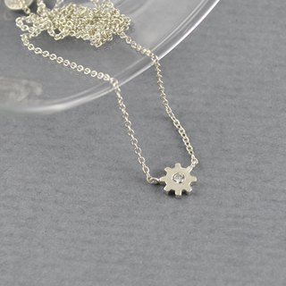 Sterling Silver Tiny Gear Necklace
