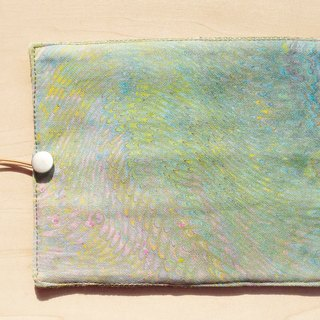 Hand-painted Rendered Pencil Bag/Felt Scroll/Spring Roll Pencil Case - Pen's Water Color House 16 (Blue Elastic Line)