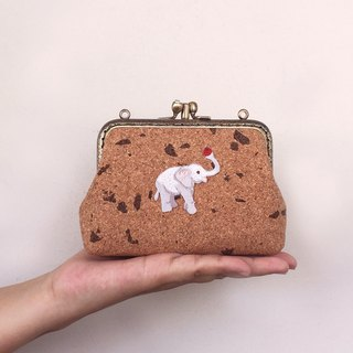Baby elephant double-layer gold in the forest - card bag / coin purse
