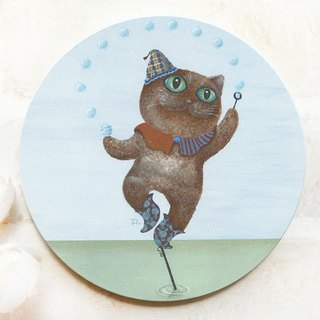 Cat World - Bubble Dance / Ceramic Water Cup Coaster