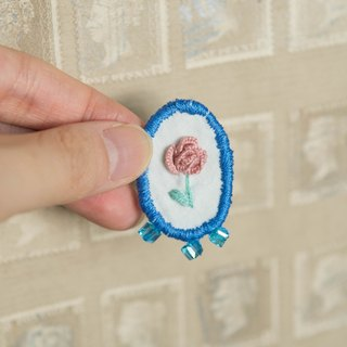 Handmade Embroidery Brooch - Pink Flower