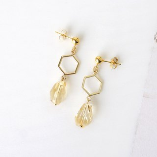 Yellow Citrine Crystal Honeycomb Earrings