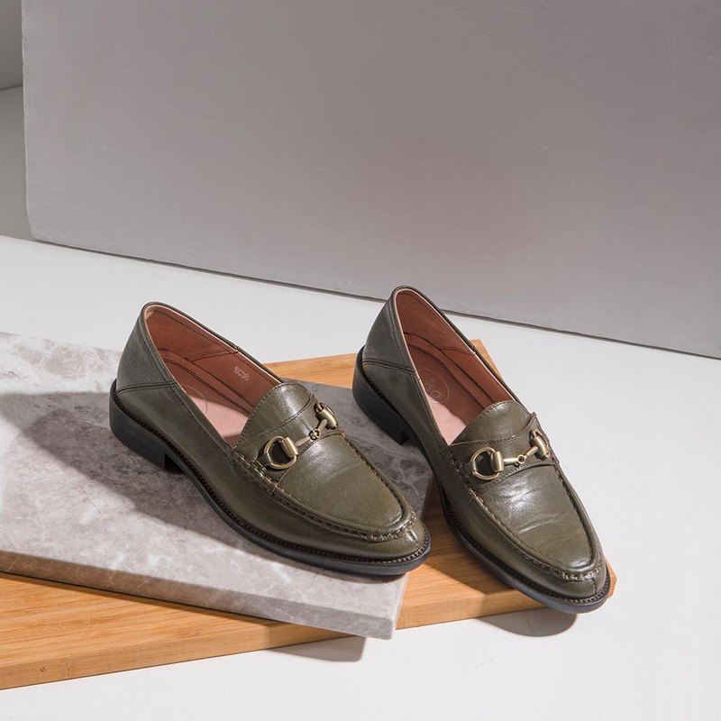 Echo copper buckle horse title Muller Loafers Ec38 dark green