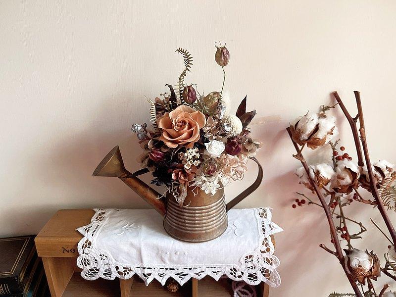 溫潤植感 巧克力奶茶 永生花 桌花 開幕盆花 桌花 花禮