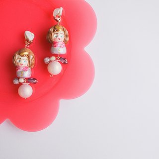 Clay earrings pearl flash girl earrings ear clip