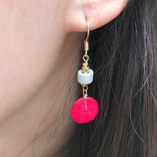 Why Not? Also! Coconut Shell Earrings RED