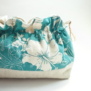 Summer hibiscus. Blue and green. Flower bag / storage bag / cosmetic bag / packet / bag
