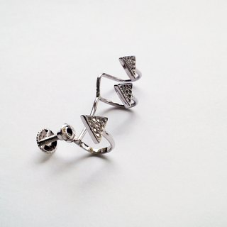 Silver earrings _ left ear clip screw