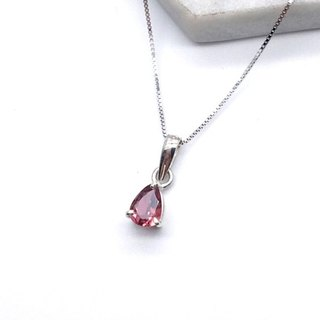 Pink Tourmaline 925 Sterling Silver Cut-Out Prong Set Necklace Made in Nepal Hand-Inlaid