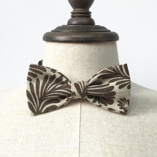 Brown line beam at the eaves palm leaf flower handmade tie Bow Tie shooting performance props