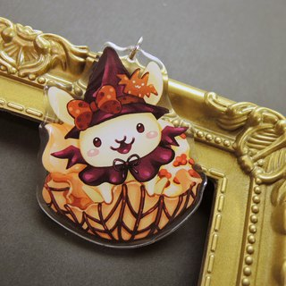 Acrylic Double Sided Charm - Halloween Rabbit - Little Witch