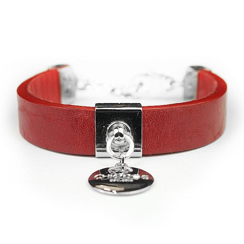 [CHIC DOG] [Limited] Dual-purpose collar Royal saddle leather - Leather collar red leather collar collar ((send lettering))