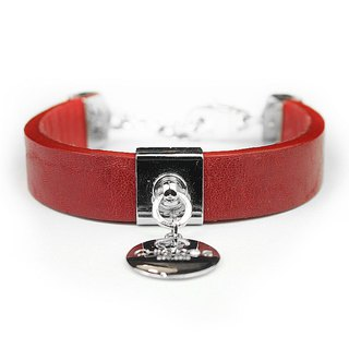[Limited] dual-use - royal saddle leather - crimson leather collar (send lettering)