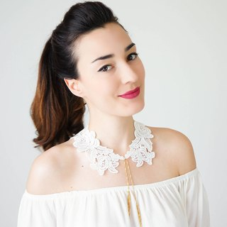 Lace Collar White Collar Vintage Collar Peter Pan Collar Statement Necklace Gift For Her Birthday Gift Sister Gift Bridal Collar / VERDA