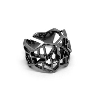 WIREFRAME Ring / Metallic Black (sterling silver jewelry)