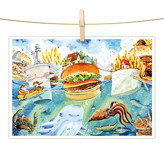 afu watercolor illustration postcard - gourmet feast / fast food island countries