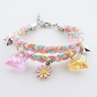Pink daisy charm double layers braided bracelet