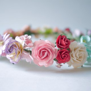 Paper Flower, Crown, Headband, Wedding, orange green mint, brown , peach brown, soft purple, yellow, pink and white Color.