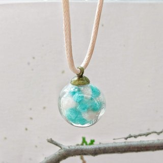 Magic bubble hand made wool felt necklace 20mm glass ball