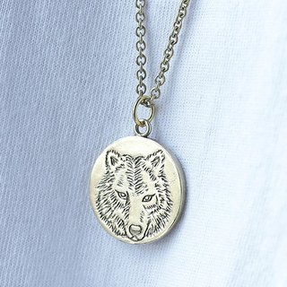 Wolf Necklace, Two sided wolf necklace, Wolf Jewelry, Wolf Pendant, Quote Necklace, Quote Pendant, Hand engraved wolf signet pendant,