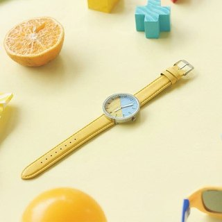 Wood Handmade Watch Two-tone Candy Yellow & Blue