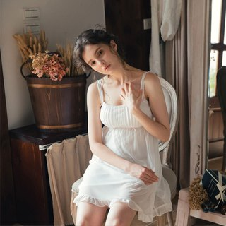 No rimpa pajamas [exclusive 2in1] happy music through the skin chiffon short dress home service - white