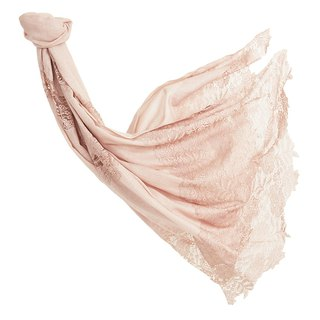 [Angel Woolen] Love Flying Lace Indian Handmade Lace Shawl - Nude