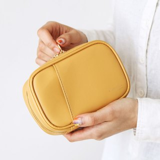 Livework Collection Dry Flower Leather Universal Cosmetic Bag Ver.4-Sunflower Yellow, LWK54715