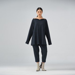 Green checked wool-blend oversized blouse