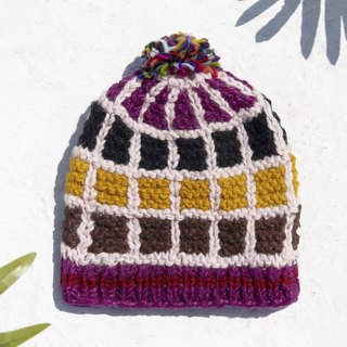 Christmas Gifts Christmas Moon gift limited edition a children's wool cap / knitted pure wool warm wool cap / children's knitted wool cap / inner brush cap / knitted wool cap / children's wool cap - Spain fun pink geometry checkered palette