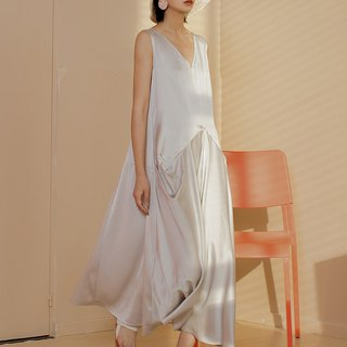 Silky Asymmetrical Sleeveless Dress