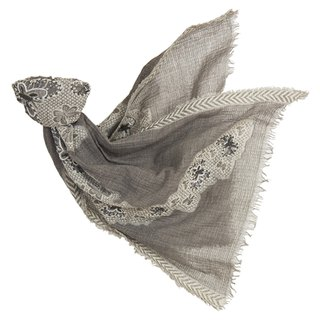 [Angel Woolen] Butterfly Dance Indian Hand Embroidered Wool Shawl - Grey