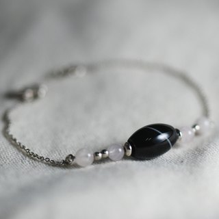 --Sterling Silver Beaded Bracelet--No.2 Black Striped Agate Bracelet