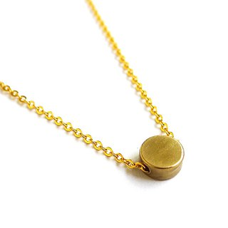 Ficelle | handmade brass natural stone necklace | [round cake] Brass 18K gold clavicle chain