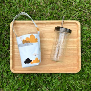 Seagull cloud cotton cloth beverage bag 720ml wide mouth mason cup with cup lid straw