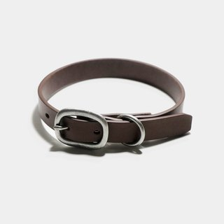 LUCE vegetable tanned leather/pure copper hardware pet collar - brown