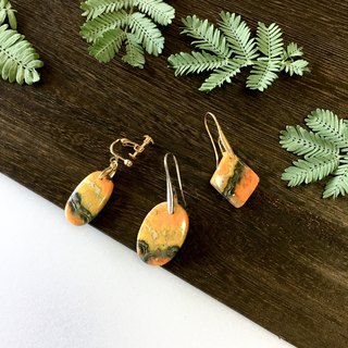 Bumble bee jasper Hook-earring / Clip-earring