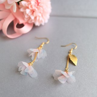 white pink organza Silk Hand Painted diamond crystal flower leaf Earrings gift