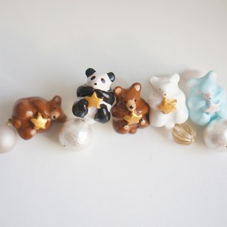 |Unicorn forest | Bear with stars can order rainbow bear single earrings / ear clips