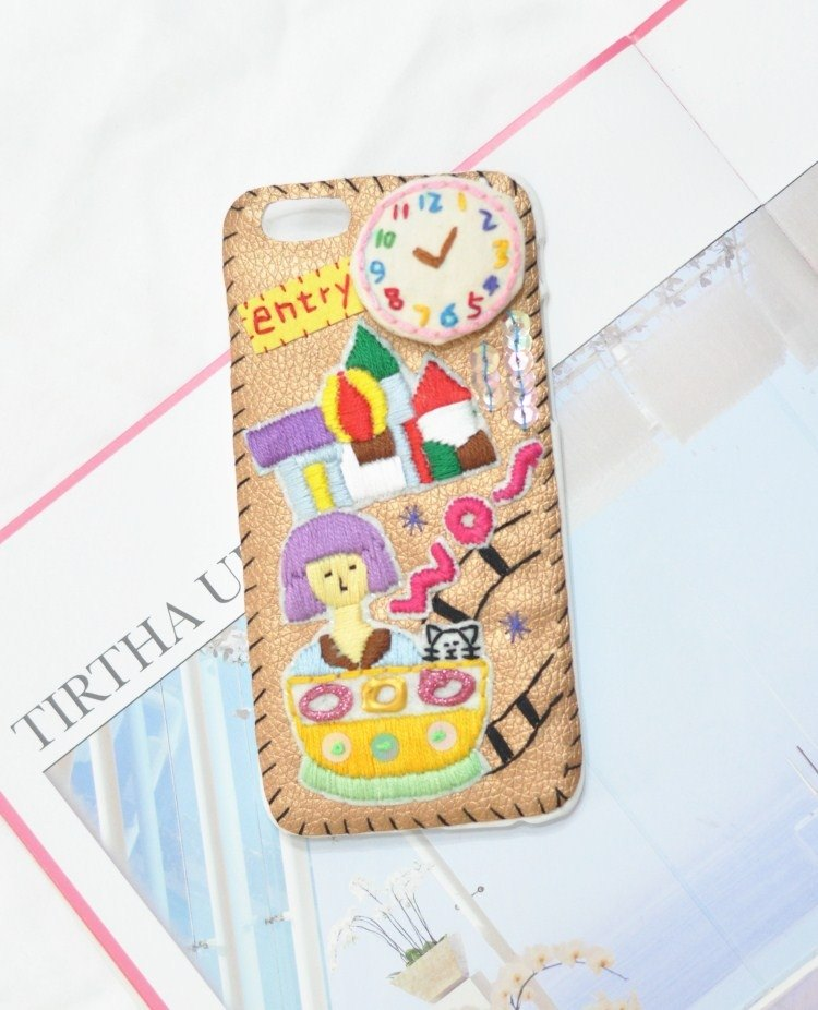 Handmade embroidery bead playground theme iPhone case